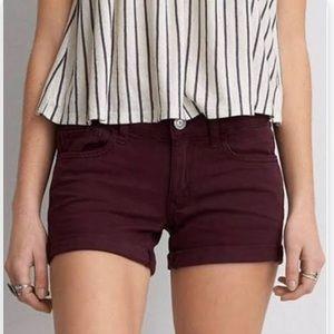 burgundy American Eagle super stretch midi shorts